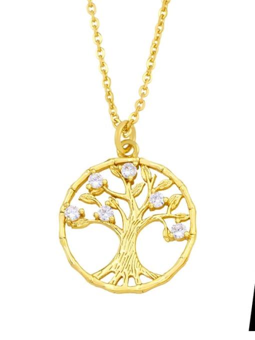 A Brass Cubic Zirconia Tree Vintage Necklace