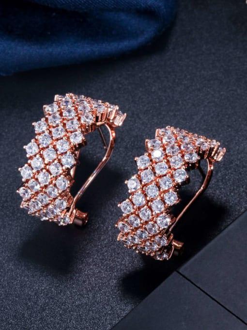 rose gold Brass Cubic Zirconia Geometric Statement Stud Earring