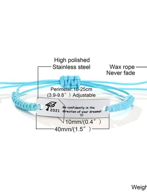 Blue rope 11 Stainless steel Geometric Minimalist Woven Bracelet