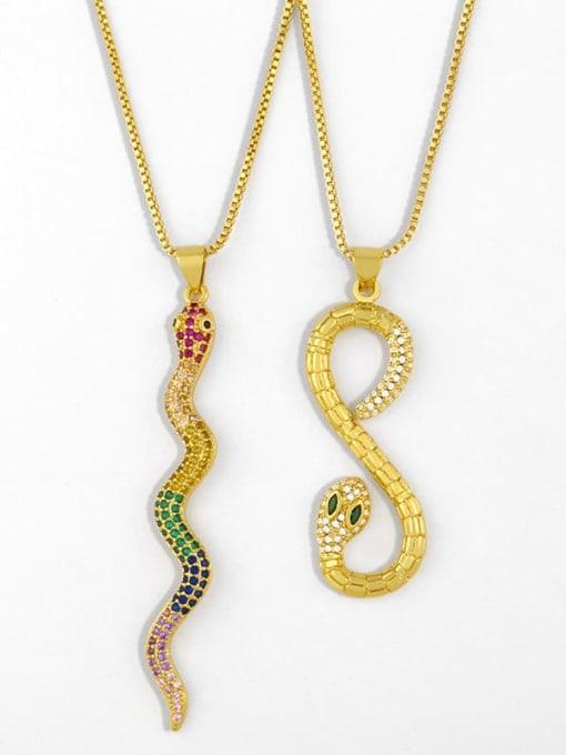 CC Brass Cubic Zirconia Snake Vintage Necklace