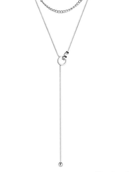 Open Sky Titanium Steel Tassel Minimalist Lariat Necklace