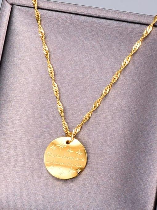 A TEEM Titanium Letter Minimalist round pendant Necklace 1