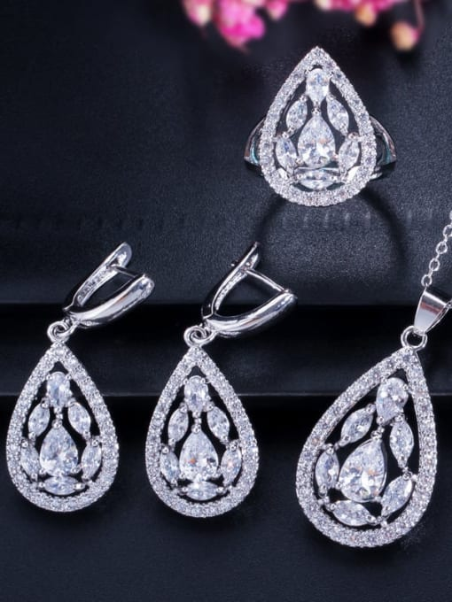 White ring size 7 Drop Brass Cubic Zirconia Luxury Water  Earring and Necklace Set