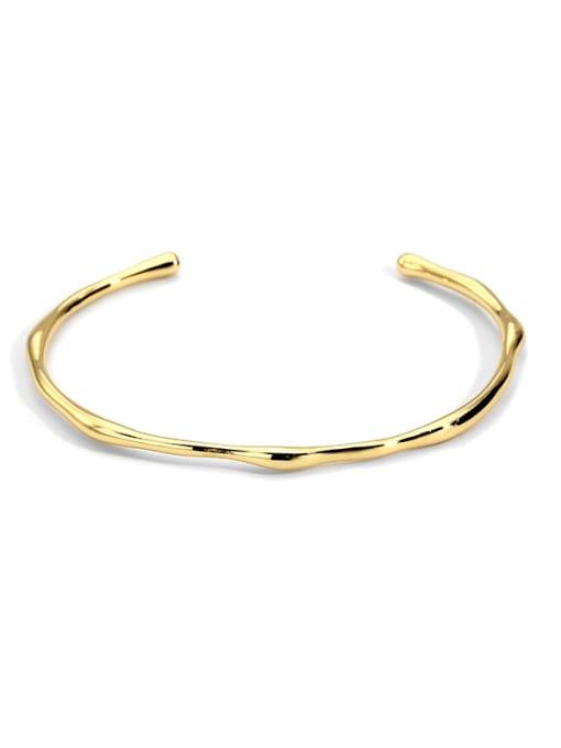 CHARME Brass Smooth Geometric Minimalist Cuff Bangle 0