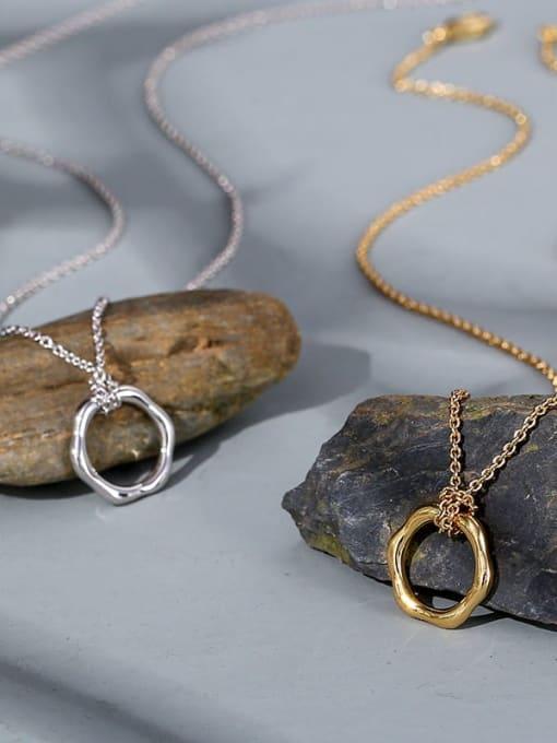 CHARME Brass  Hollow Geometric Vintage Pendant Necklace 1