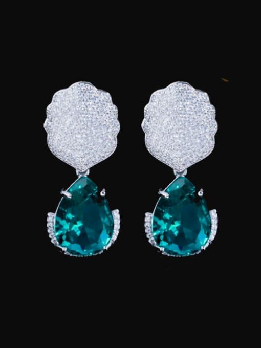 green Brass Cubic Zirconia Water Drop Luxury Drop Earring
