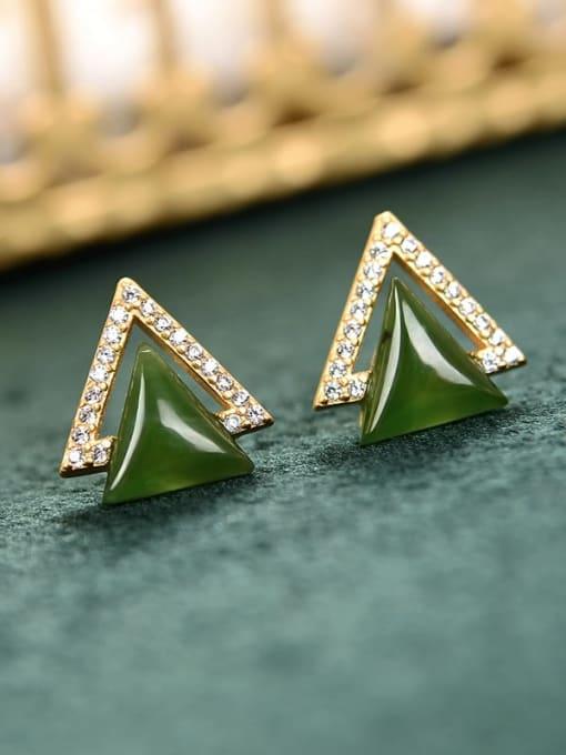 DEER 925 Sterling Silver Jade Triangle Vintage Stud Earring
