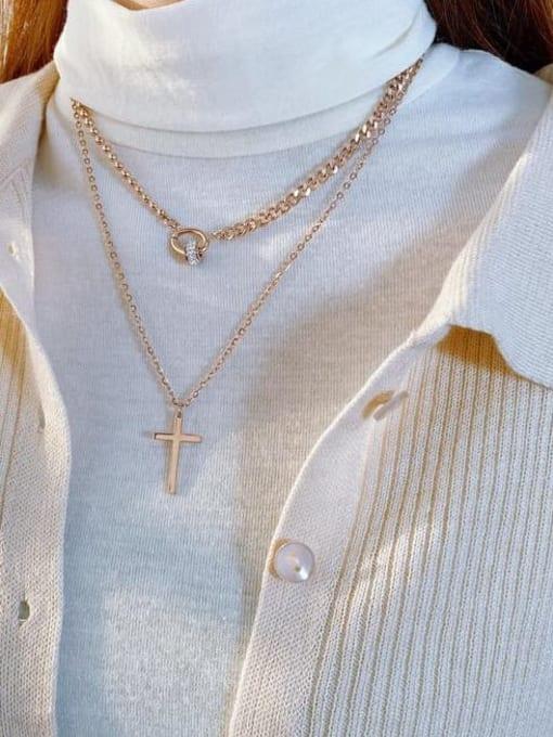 Open Sky Titanium Steel Rhinestone Cross Minimalist Multi Strand Necklace 1