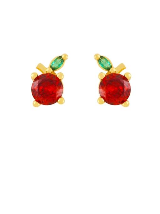 orange Brass Rhinestone Friut Cute Stud Earring