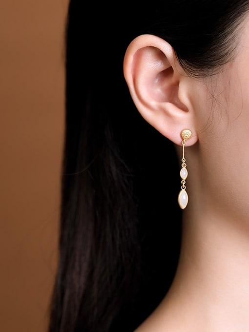 DEER 925 Sterling Silver Jade Geometric Ethnic Drop Earring 1
