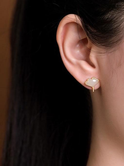 DEER 925 Sterling Silver Jade Leaf Vintage Stud Earring 1