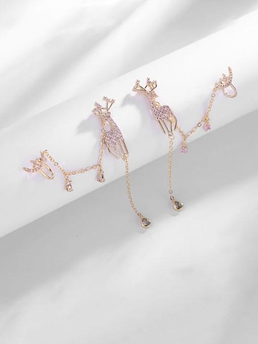 Luxu Brass Cubic Zirconia Deer Trend Stud Earring 2