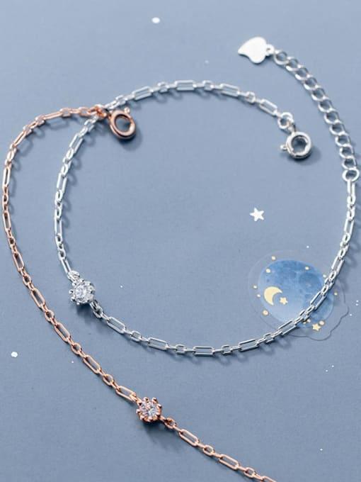 Rosh 925 Sterling Silver Rhinestone Round Minimalist Link Bracelet