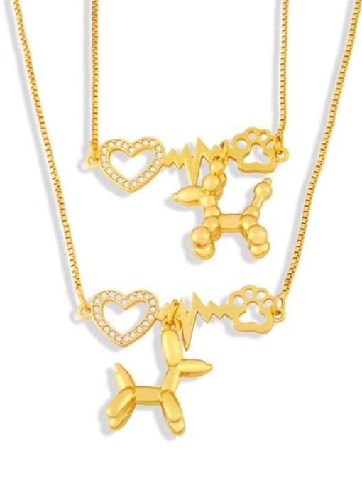 CC Brass Cubic Zirconia Heart Cute Necklace