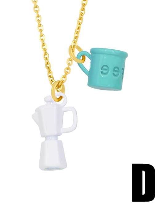 D (green white) Brass Enamel Irregular Vintage Necklace