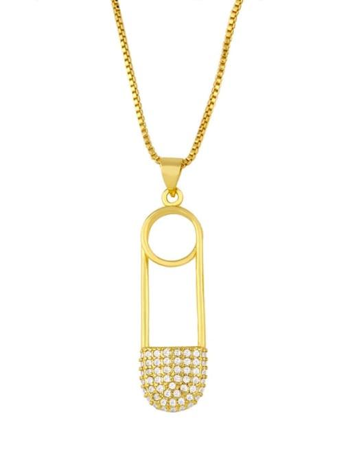 CC Brass Cubic Zirconia Geometric Minimalist Regligious Necklace 1