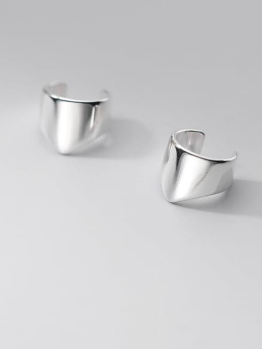 silver 925 Sterling Silver Geometric Minimalist Clip Earring