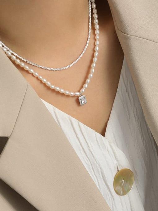 DAKA 925 Sterling Silver Freshwater Pearl Geometric Minimalist Necklace 1