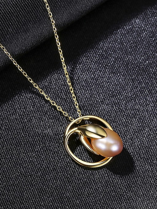 purple 8C08 925 Sterling Silver Freshwater Pearl Geometric Minimalist Necklace