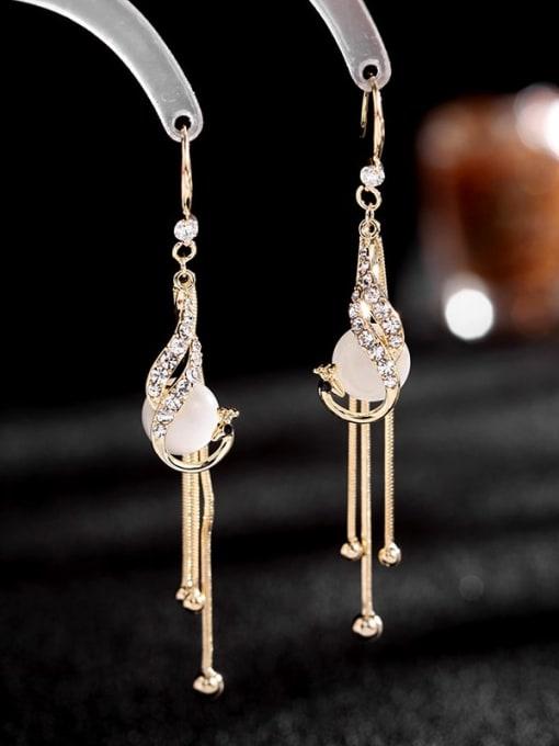 Luxu Brass Cubic Zirconia Tassel Trend Hook Earring 2