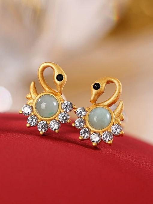 DEER 925 Sterling Silver Jade Swan Cute Stud Earring 2