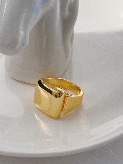 Bright square ring Brass  Smooth Geometric Vintage Band Ring