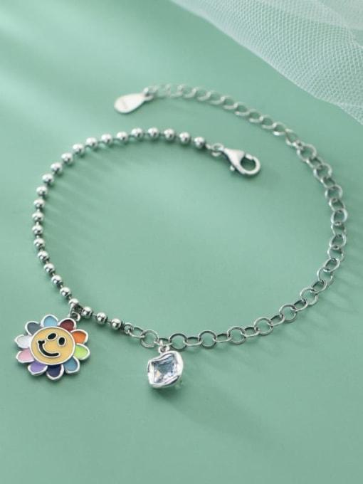 Rosh 925 Sterling Silver Flower Vintage Link Bracelet 3