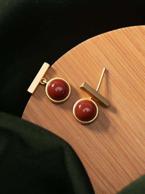 DEER 925 Sterling Silver Carnelian Geometric Minimalist Stud Earring 0