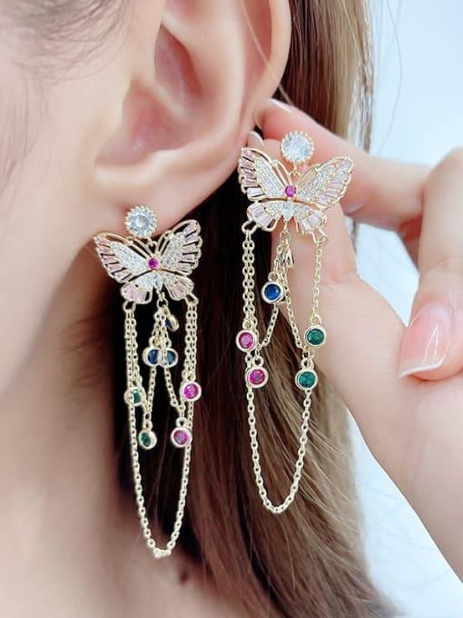 Luxu Brass Cubic Zirconia Butterfly Ethnic Drop Earring 2