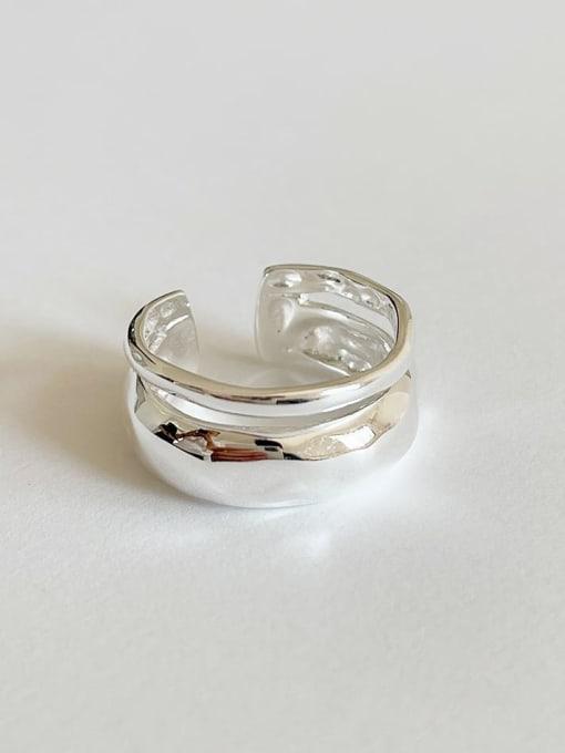 Boomer Cat 925 Sterling Silver Irregular Minimalist Stackable Ring 3