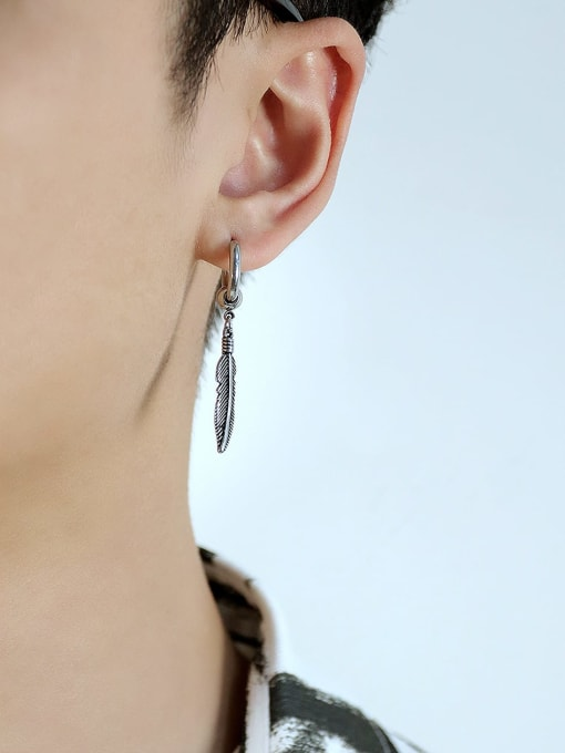 Open Sky Titanium Steel Feather Vintage Huggie Earring 2