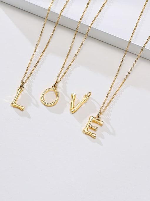 CONG Titanium Steel  26 Letter Minimalist  Pendant Necklace