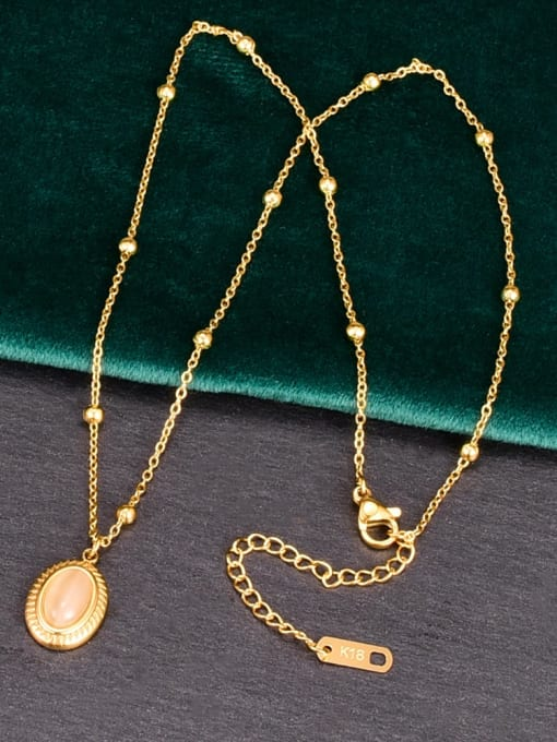 A TEEM Titanium Steel Oval Vintage Necklace 1