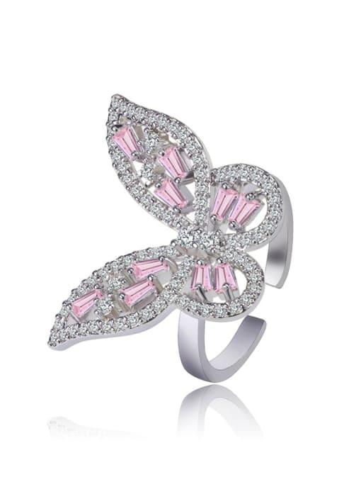 DUDU Brass Cubic Zirconia Butterfly Luxury Band Ring 0