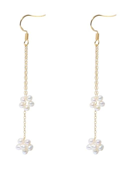 RAIN Brass Freshwater Pearl Geometric Minimalist Hook Earring