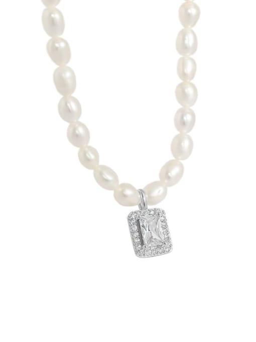 DAKA 925 Sterling Silver Freshwater Pearl Geometric Minimalist Necklace 4