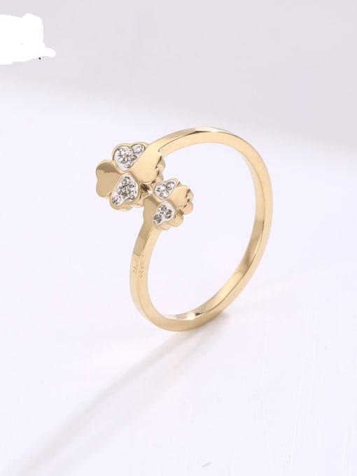 MIYA Titanium Steel Rhinestone Flower Minimalist Band Ring