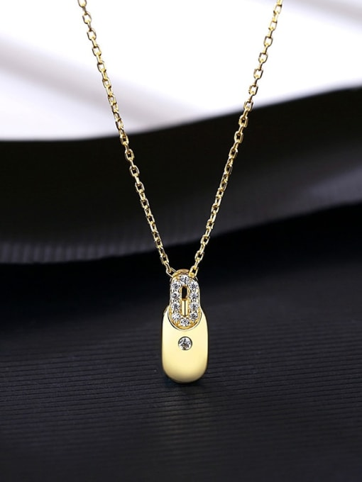14K 11H04 925 Sterling Silver Rhinestone Geometric Minimalist Necklace