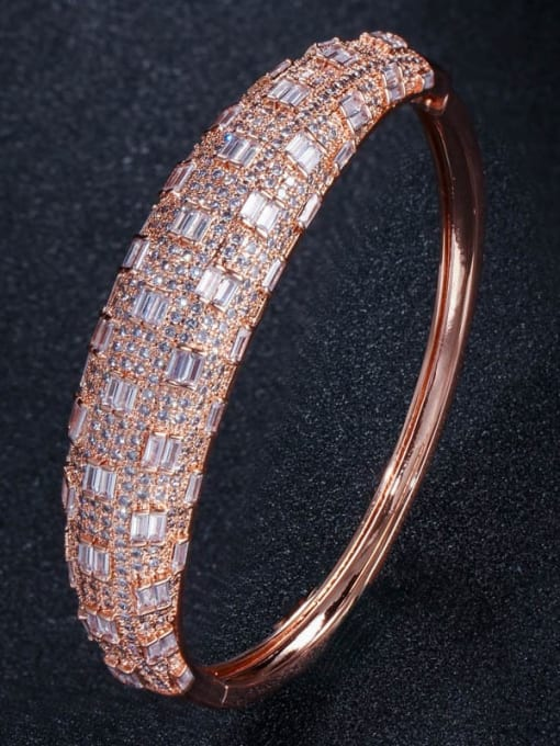 rose gold Brass Cubic Zirconia Geometric Luxury Band Bangle