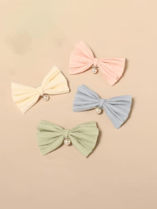 YOKI KIDS Alloy Cotton Cute Bowknot  Multi Color Hair Barrette 3