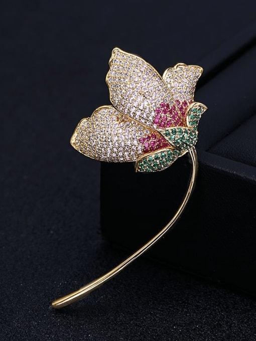 Luxu Brass Cubic Zirconia Flower Trend Brooch