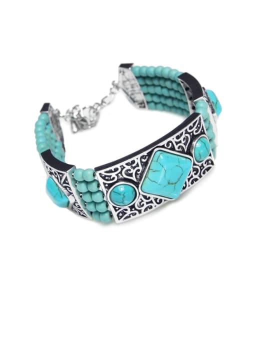 brj64 Alloy Turquoise Geometric Trend Band Bangle