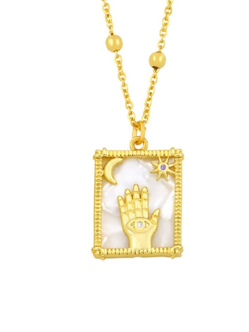 C Brass Shell Geometric Vintage Necklace