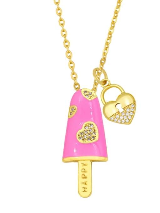 pink Brass Cubic Zirconia Enamel Heart Minimalist Necklace