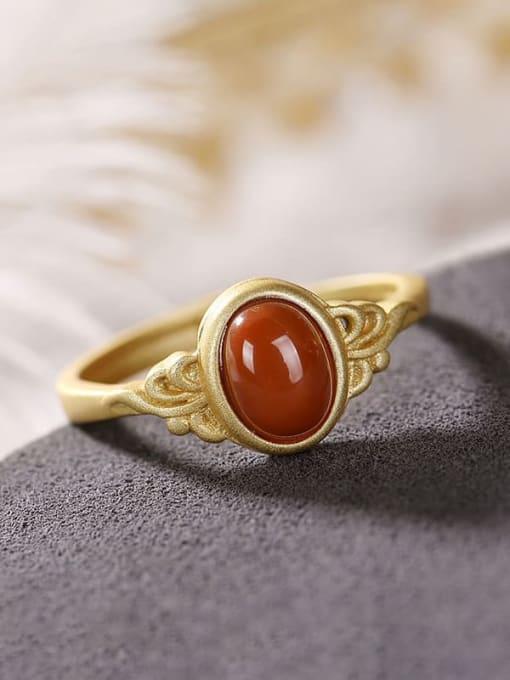 DEER 925 Sterling Silver Carnelian Oval Vintage Band Ring