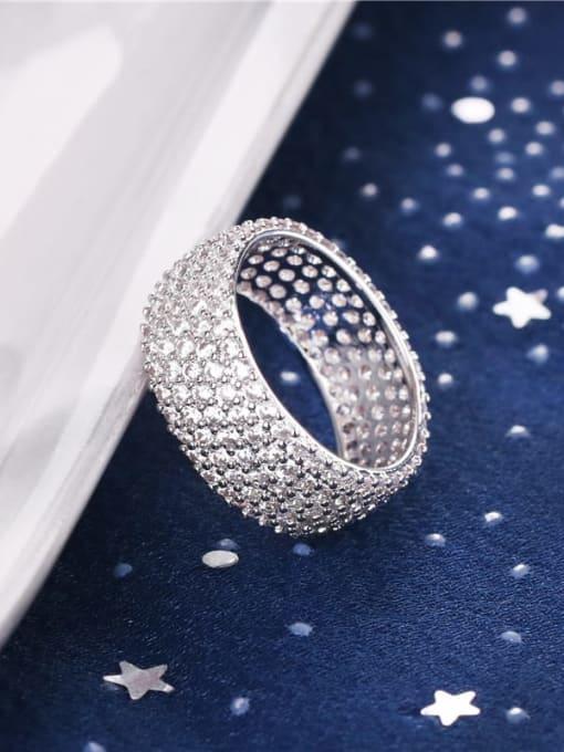 DUDU Brass Cubic Zirconia Geometric Minimalist Band Ring 1