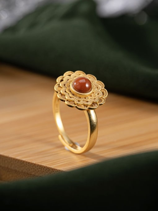 DEER 925 Sterling Silver Carnelian Flower Vintage Band Ring 2