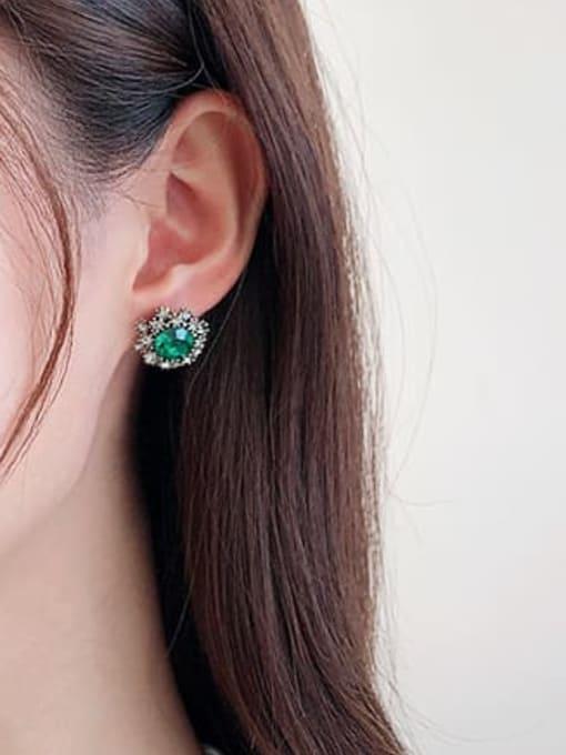 Luxu Brass Cubic Zirconia Flower Vintage Stud Earring 2