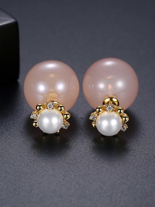 Pink t05a14 Copper Imitation Pearl Round Minimalist Stud Earring