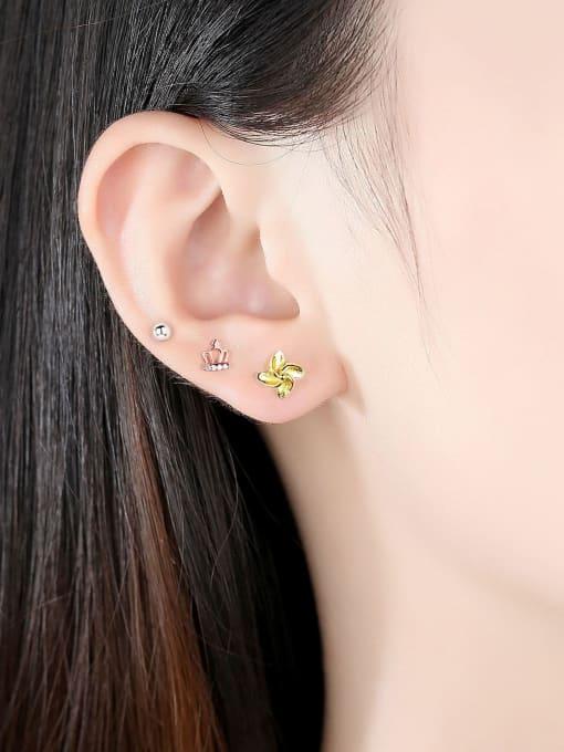 CCUI 925 Sterling Silver Cubic Zirconia Crown Cute Stud Earring 1